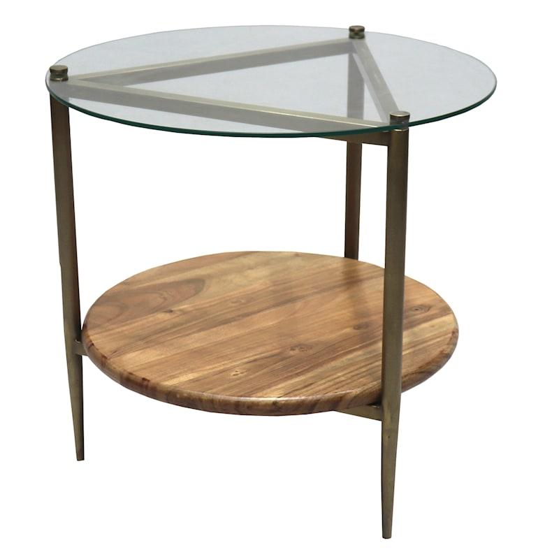 GLASS TOP WOOD SHELF SIDE TABL