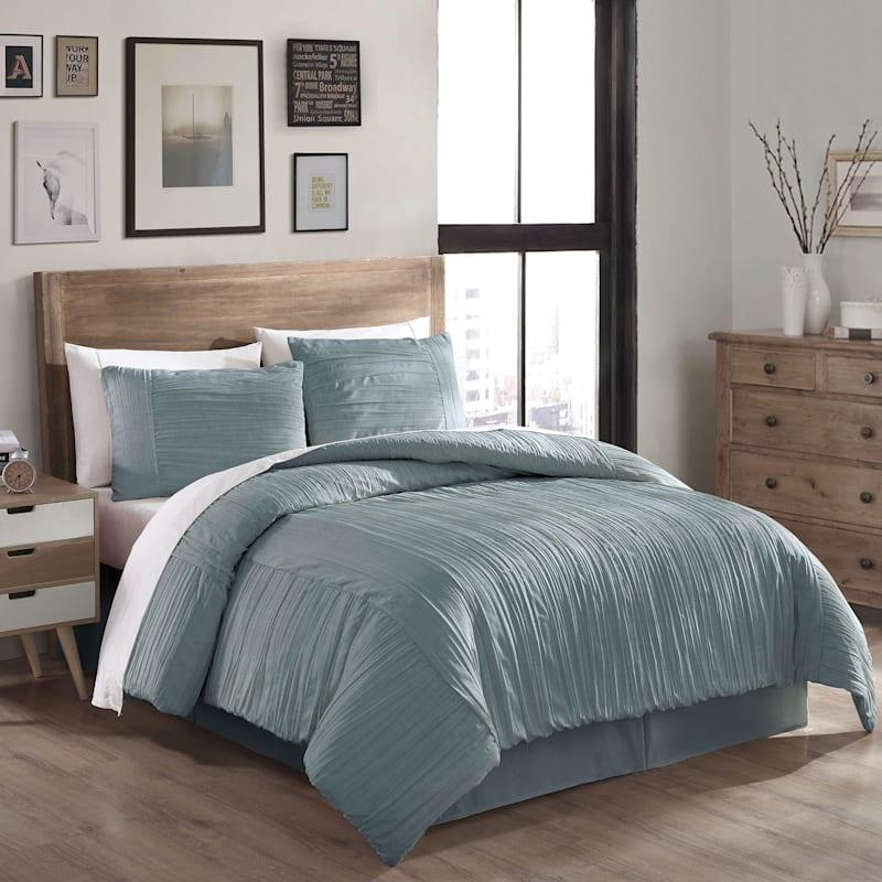Blue 3-Piece Crush Linen Comforter Set, King