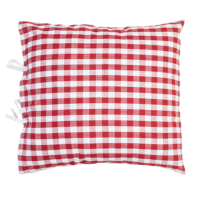 "Gloria Gingham Red Tie Throw Pillow, 20"""