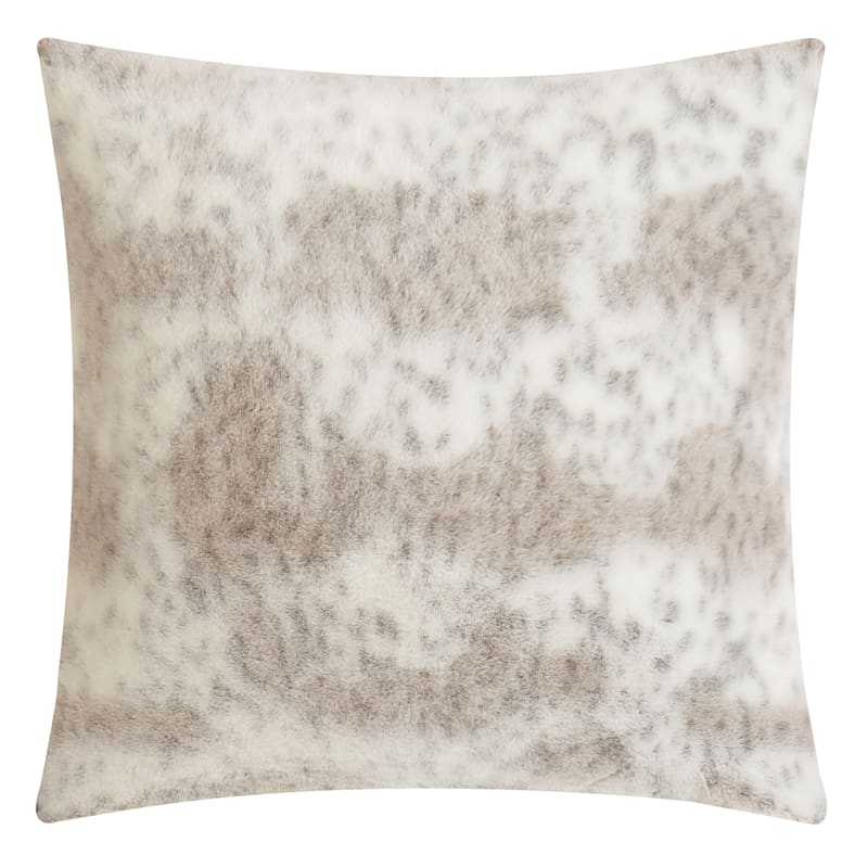 24in. Back-Dyed Faux Rabbit Fur Throw Pillow