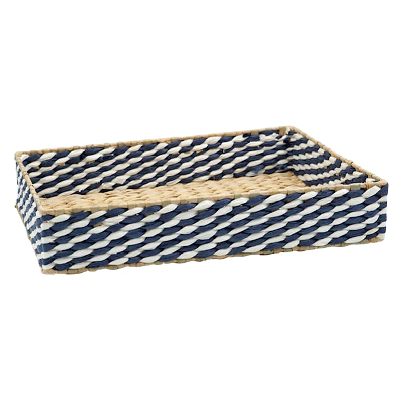 16in. Blue/Tan Paper With Grass Weave Storage Tray
