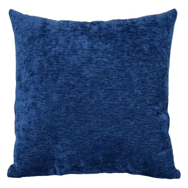 """Reese Navy Chenille Throw Pillow, 18"""""""