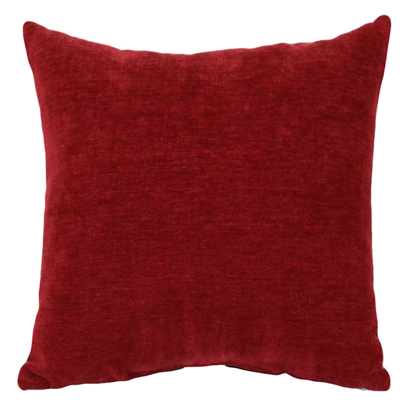 """Reese Red Chenille Throw Pillow, 24"""""""