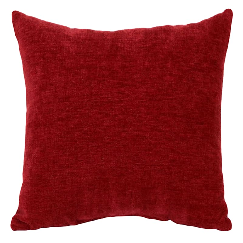 """Reese Red Chenille Throw Pillow, 18"""""""