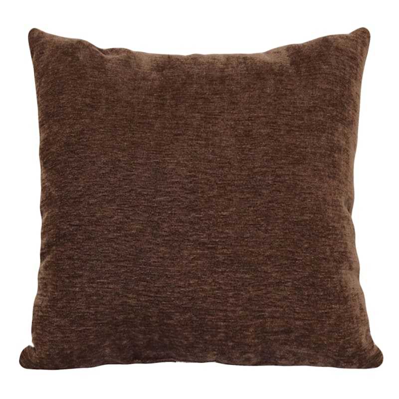 """Reese Chocolate Chenille Throw Pillow, 18"""""""