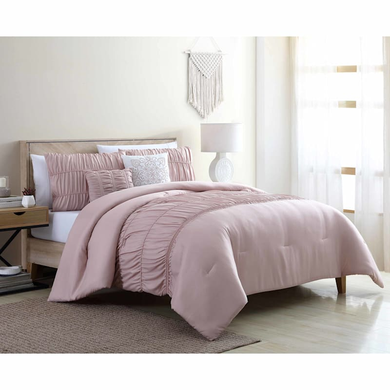 Holly 5-Piece Taupe Comforter Set, Queen