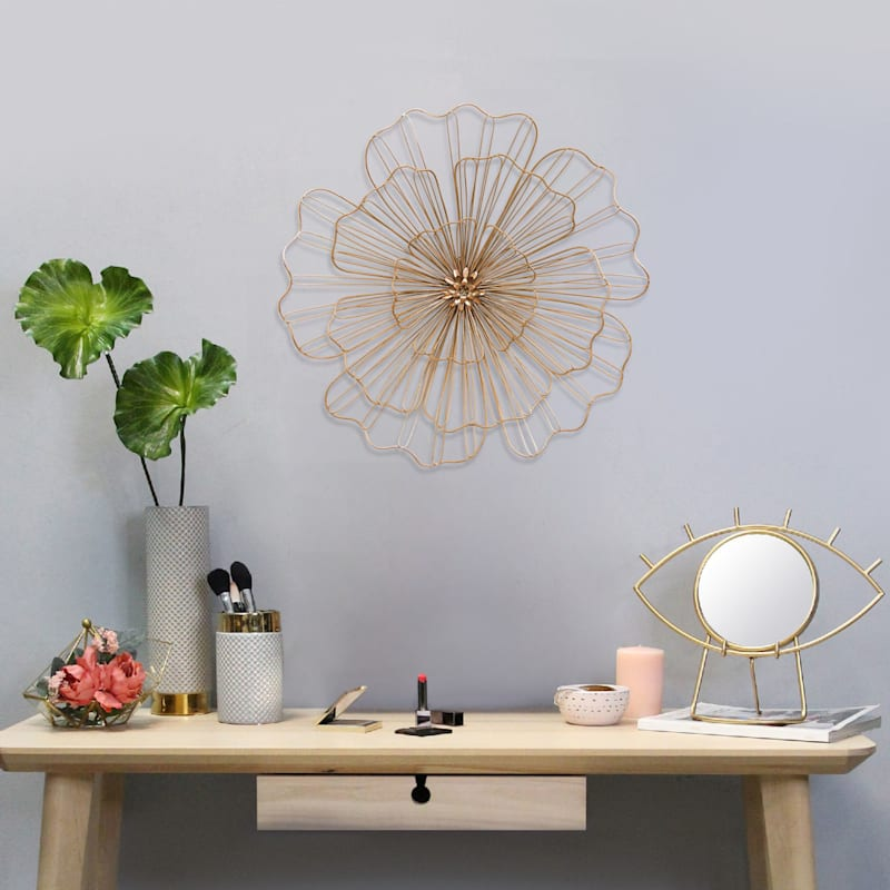 20in. Gold Wire Flower Wall Decor