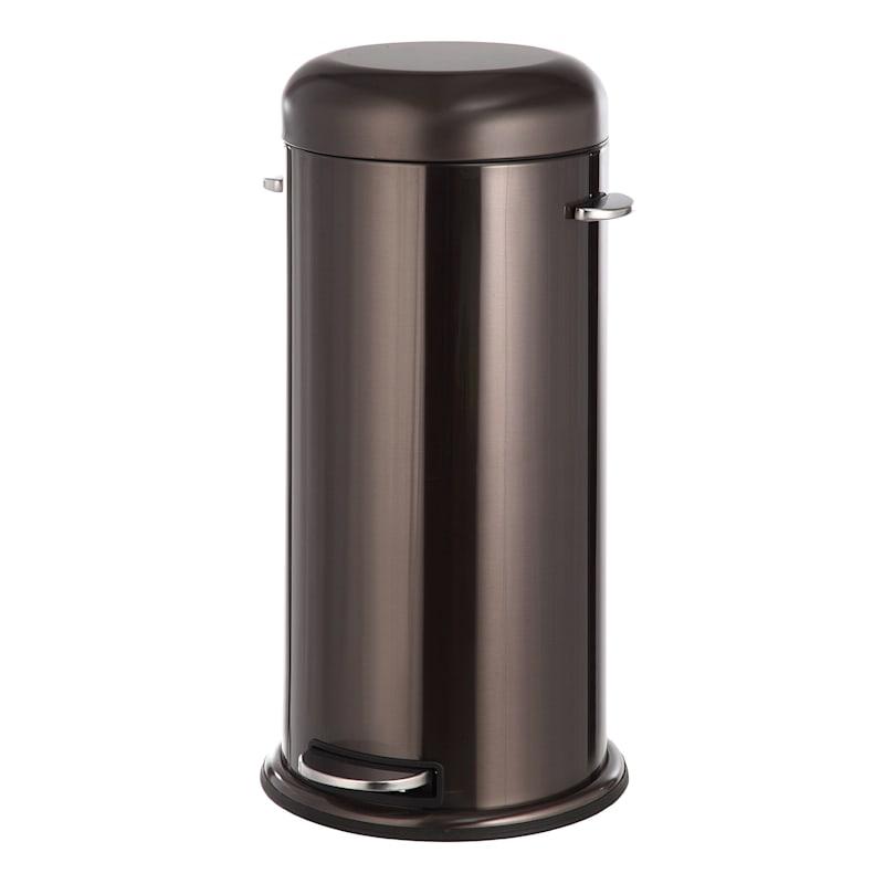 30L Round Retro Pedal Bin Black Stainless Steel