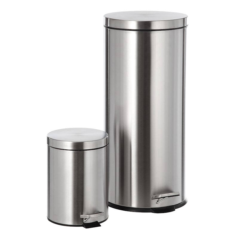 30L Stainless Steel Trash Can with Bonus 5L Bin