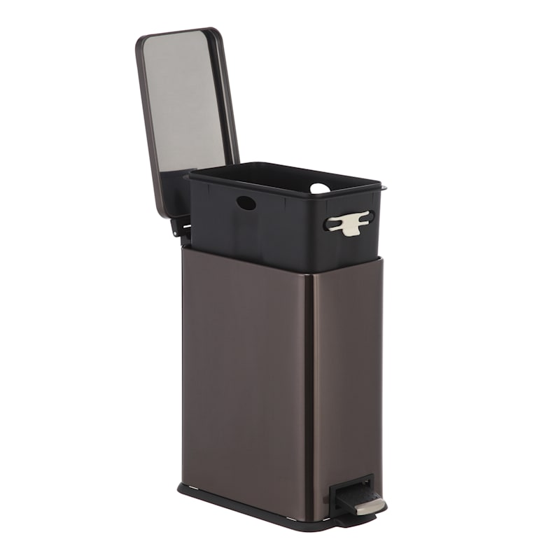 9.7L Slim Rectangle Pedal Bin Black Stainless Steel