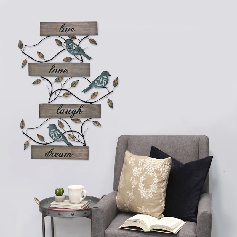 20X28 Live Love Laugh Dream Planked Wood With Metal Birds Wall Decor