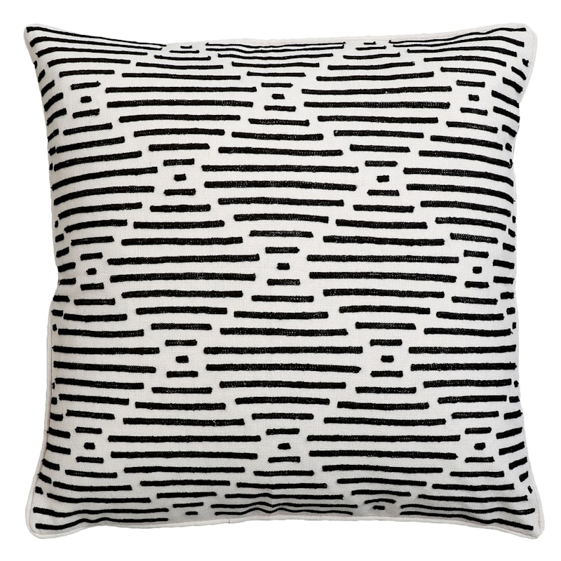 """Everdell Black Embroidered Throw Pillow, 22"""""""