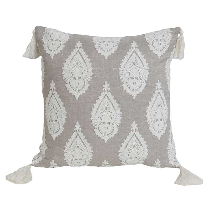 """Paden Paisley Tan Embroidered Pillow with Tassels, 18"""""""