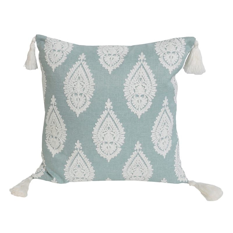"""Paden Paisley Aqua Embroidered Pillow with Tassels, 18"""""""