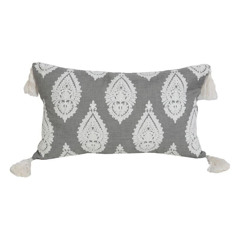"""Paden Paisley Grey with Tassels Lumbar Throw Pillow, 12"""""""