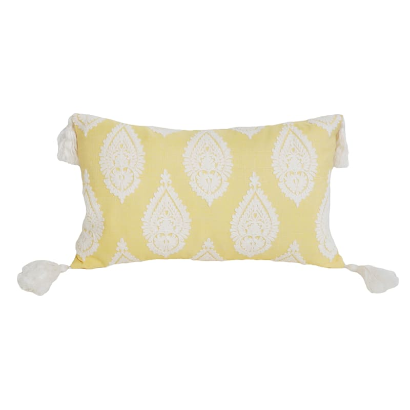 """Paden Paisley Yellow with Tassels Lumbar Throw Pillow, 12"""""""