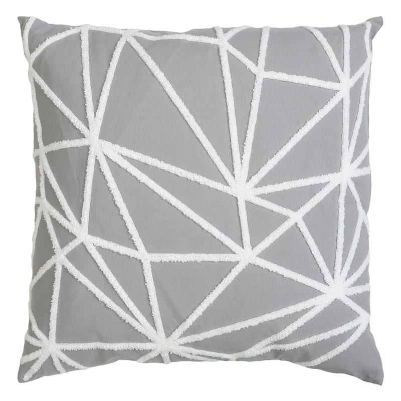 "Gustave Light Grey Twill Stitch Throw Pillow, 20"""