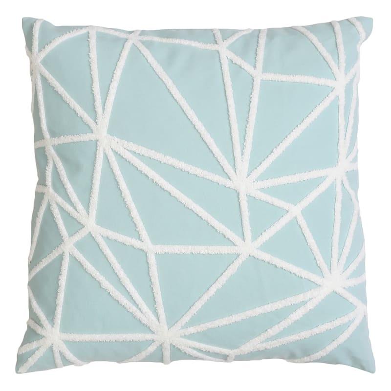 "Gustave Aqua Twill Stitch Throw Pillow, 20"""