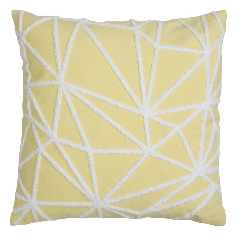 """Gustave Yellow Twill Stitch Throw Pillow, 20"""""""