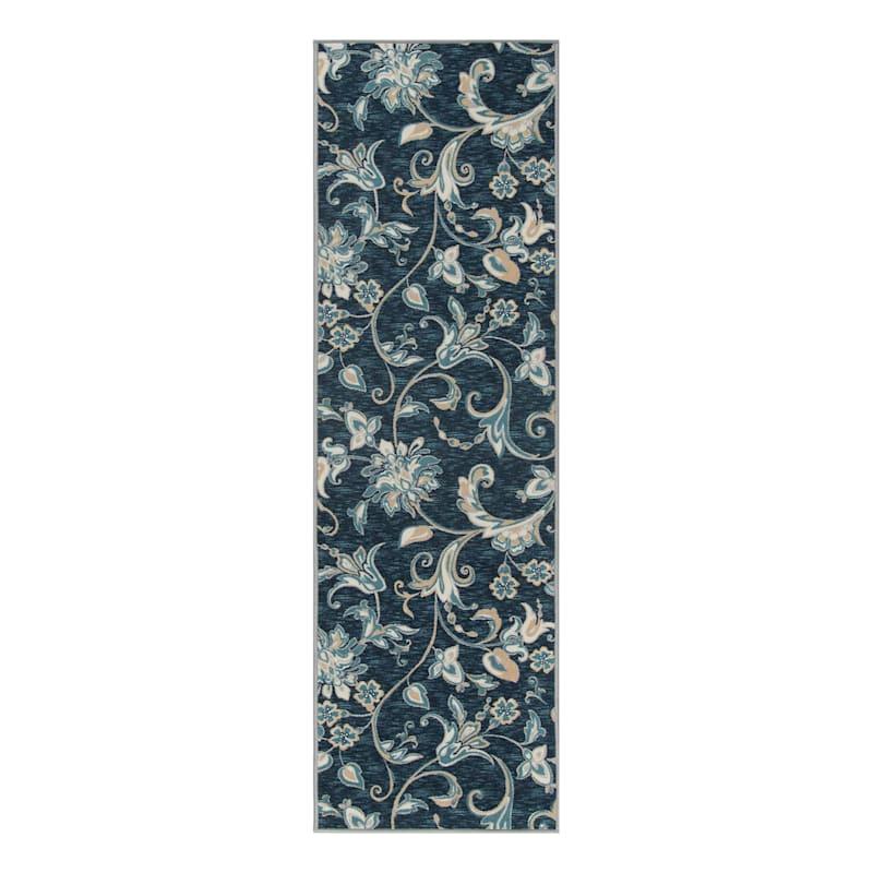 (D406) Traditional Ornamental Floral Design Runner Navy, 2x7