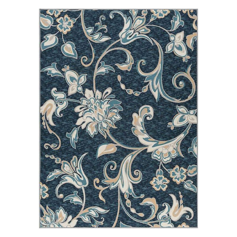 (D406) Traditional Ornamental Floral Design Area Rug Navy, 5x7