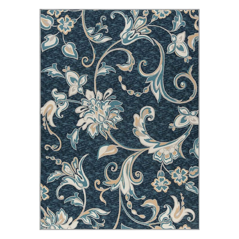 (D406) Traditional Ornamental Floral Design Area Rug Navy, 7x10