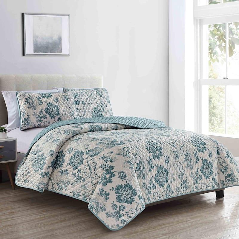 Blue Floral 3-Piece Quilt Set, Queen