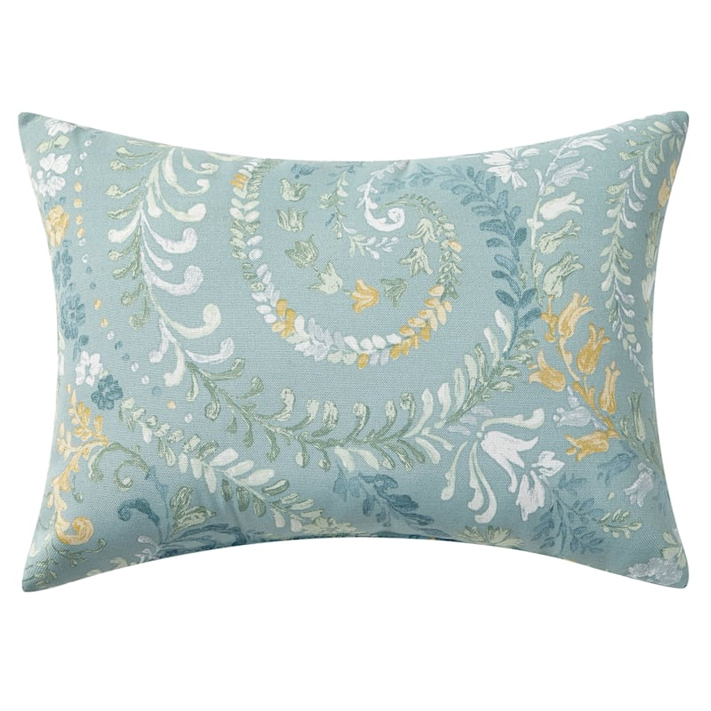 Floral Paisley Outdoor Oblong Pillow, 12x16