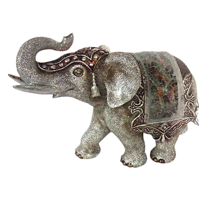 9in. Silver Resin Elephant Bookend