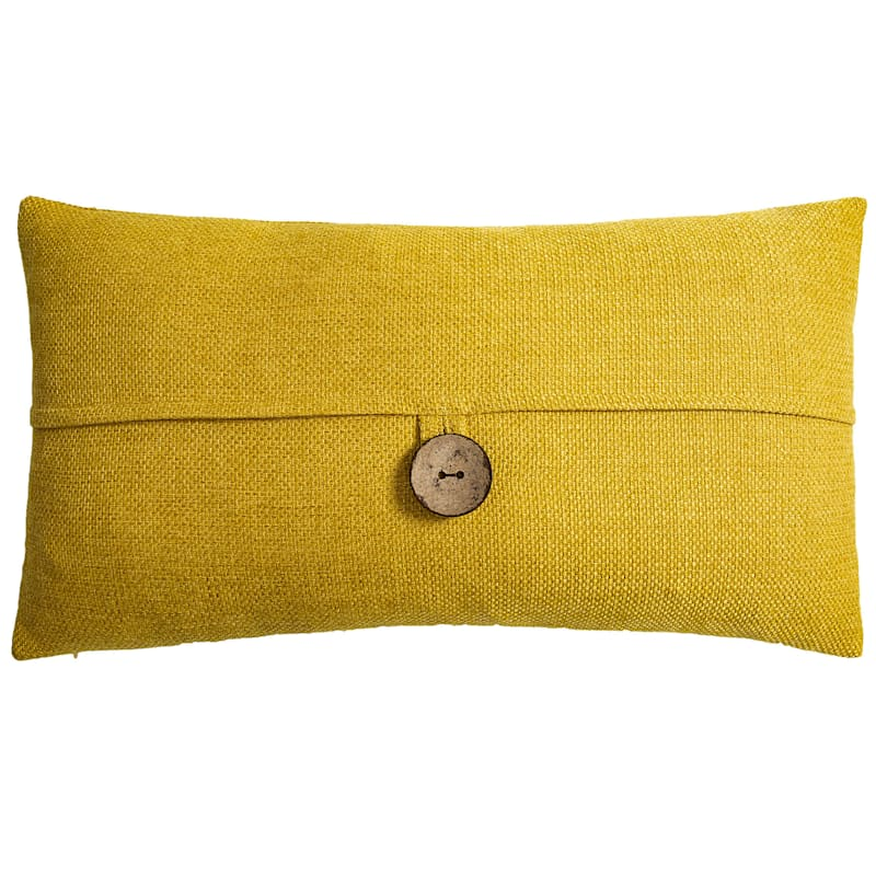 Clayton Yellow Feather Filled Coconut Button Pillow 13X24