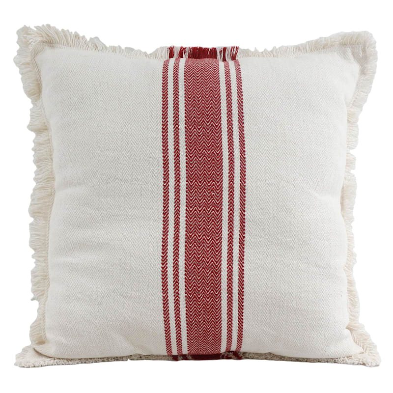 CENTER STRIPE 27IN PILLOW RED
