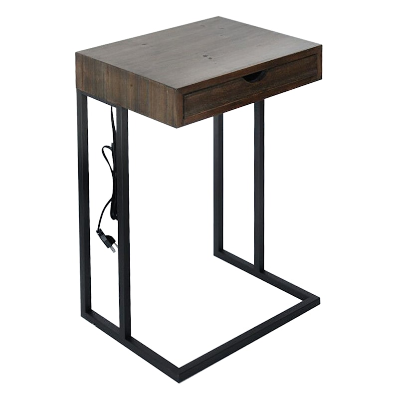 1 Drawer Wood Top C Table With USB Port