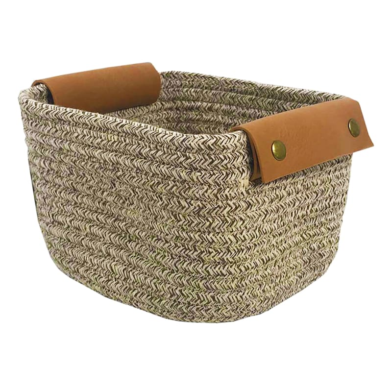8X8X5 Tan Square Rope Basket/Leather Handle