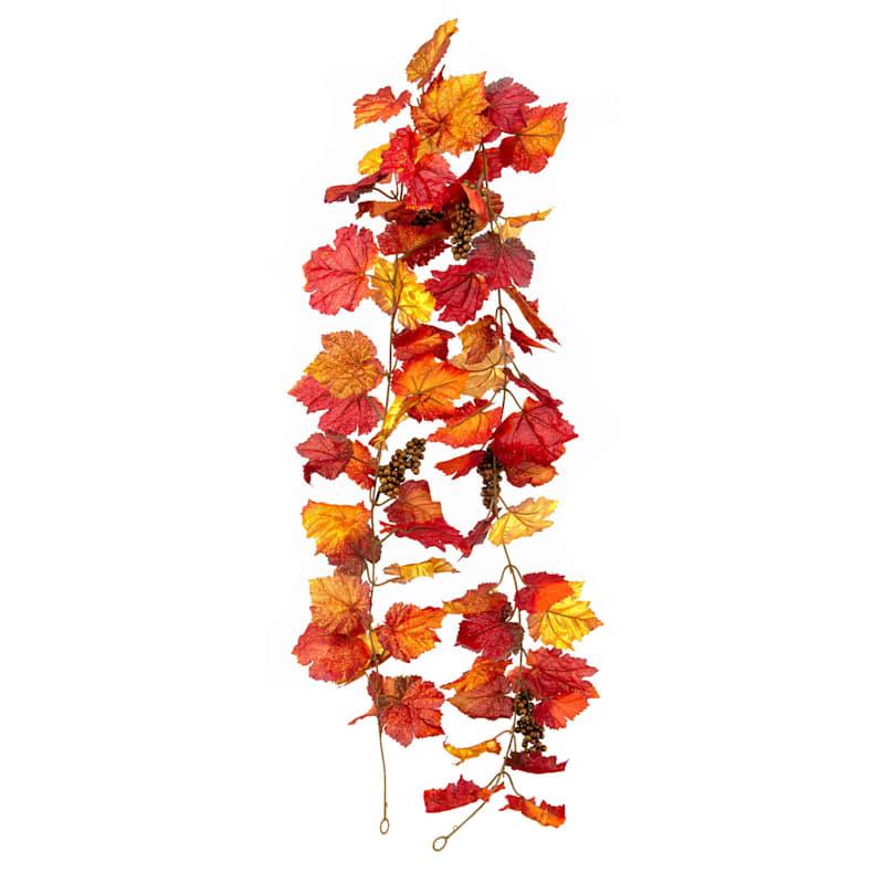 Assorted Grape Leaf & Berry Spray Garland, 6'