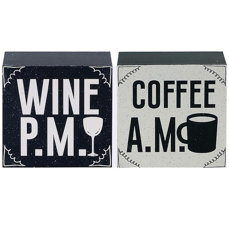 4X4 Coffee Am Wine Pm Tabletop Wood Reverse Block