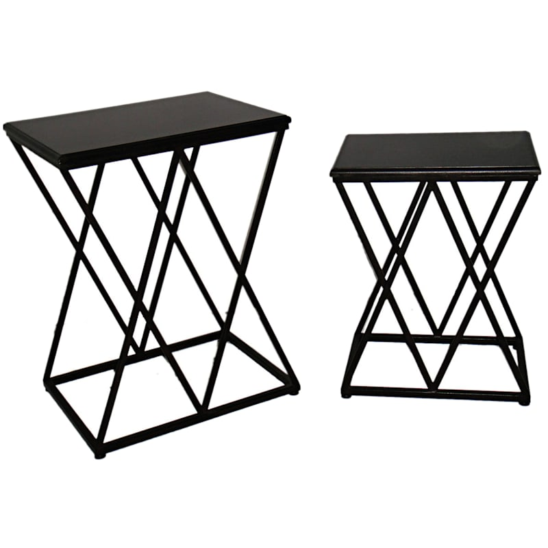 Rectangle Wood Top Table With Metal X Decorative Base, Small