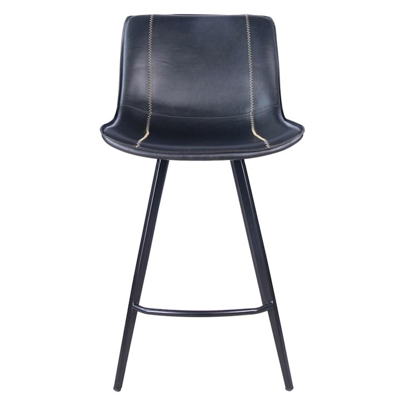 Morgan Black Faux Leather Barstool