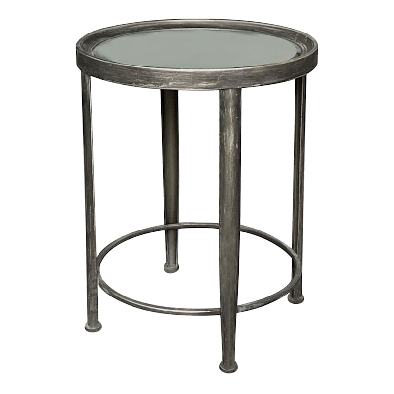 Mirror Top Accent Table With Distressed Metal Base, Small