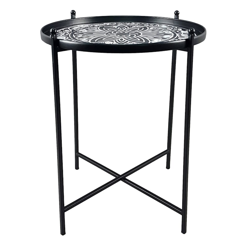 Round Metal Table With Pattern Decorative Top Black