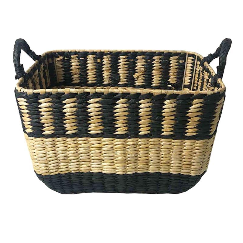 Medium Cattail Storage Basket/Black Paper