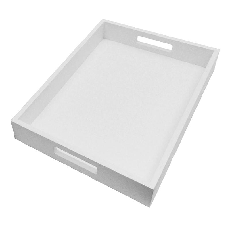 14X10 White Wood Tray