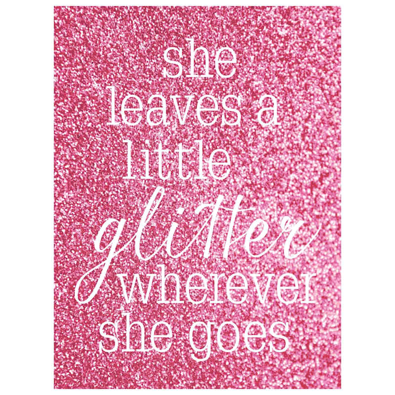 18X24 She Leaves Glitter Phrase Canvas With Glitter Paper