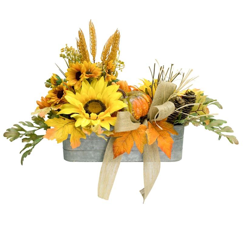 Assorted Sunflowers, Pumpkins & Mums in Rectangular Pot