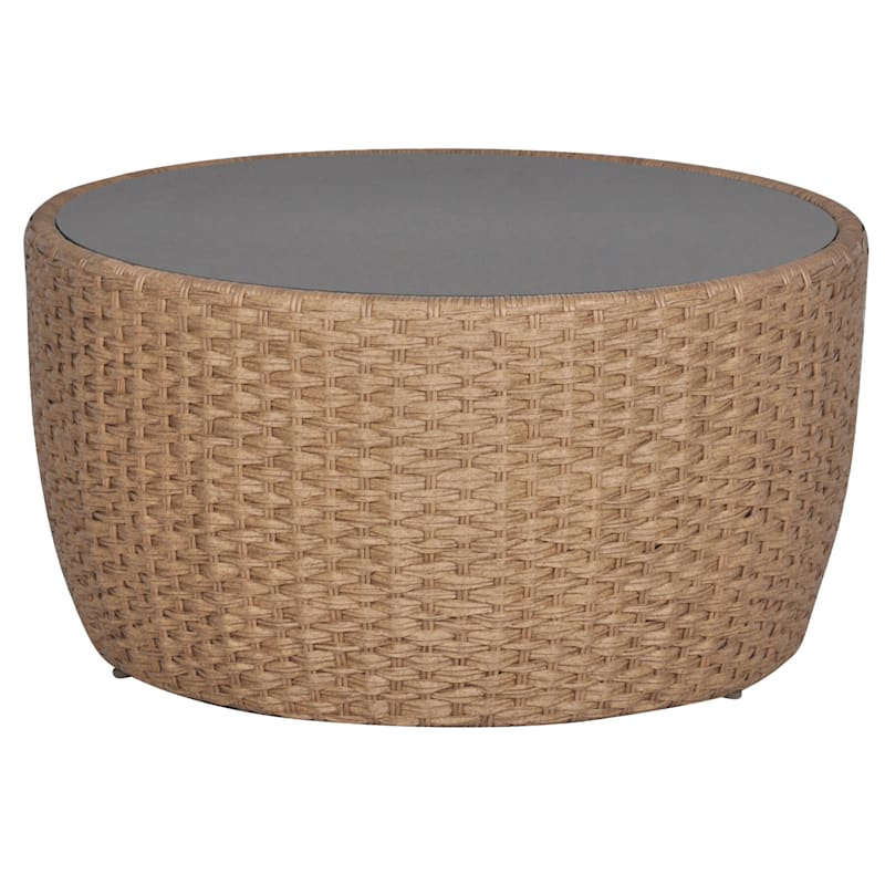 St. Lucia Wicker Coffee Table with Glass Top, Natural