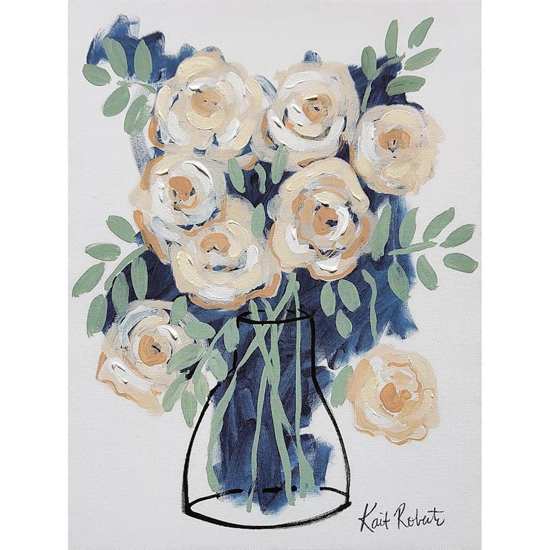 Cream/Blue Floral Canvas Wall Art, 12x16