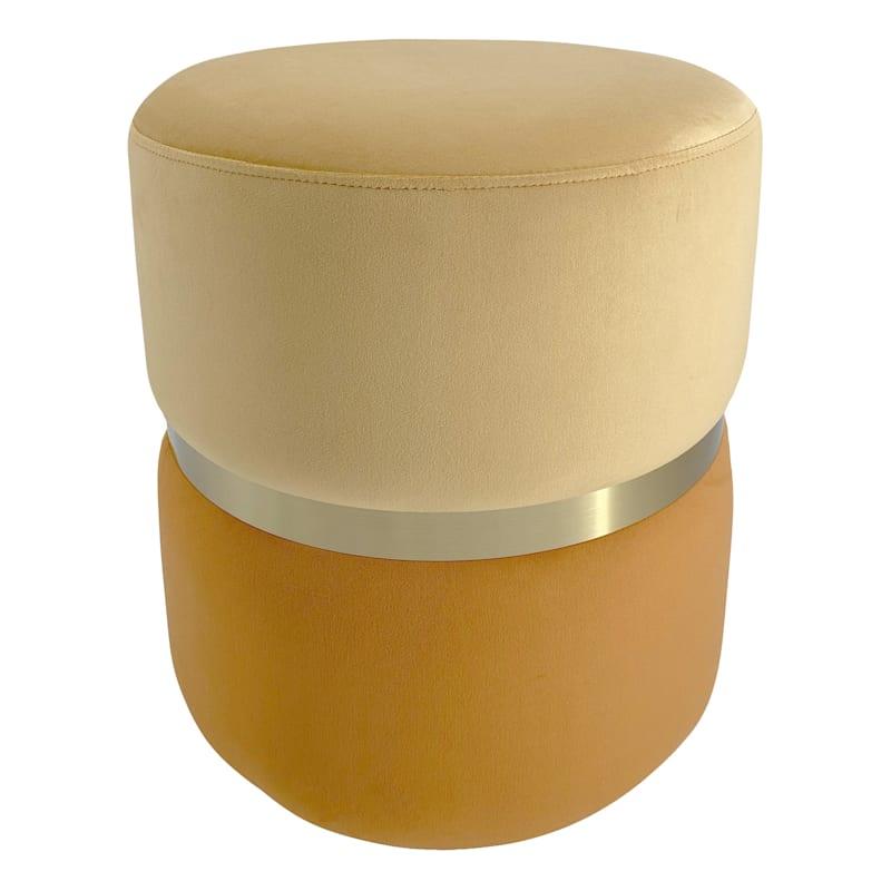 Tray Yellow & Orange Velvet Ottoman with Gold Band