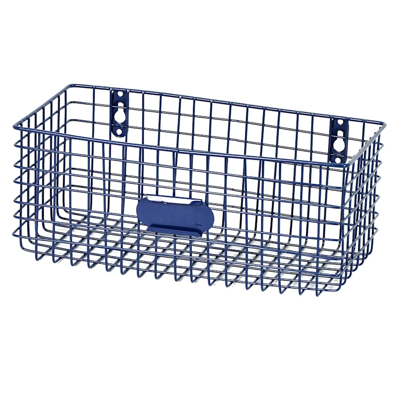 Rectangle Metal Mesh Wal Basket Grey/Blue
