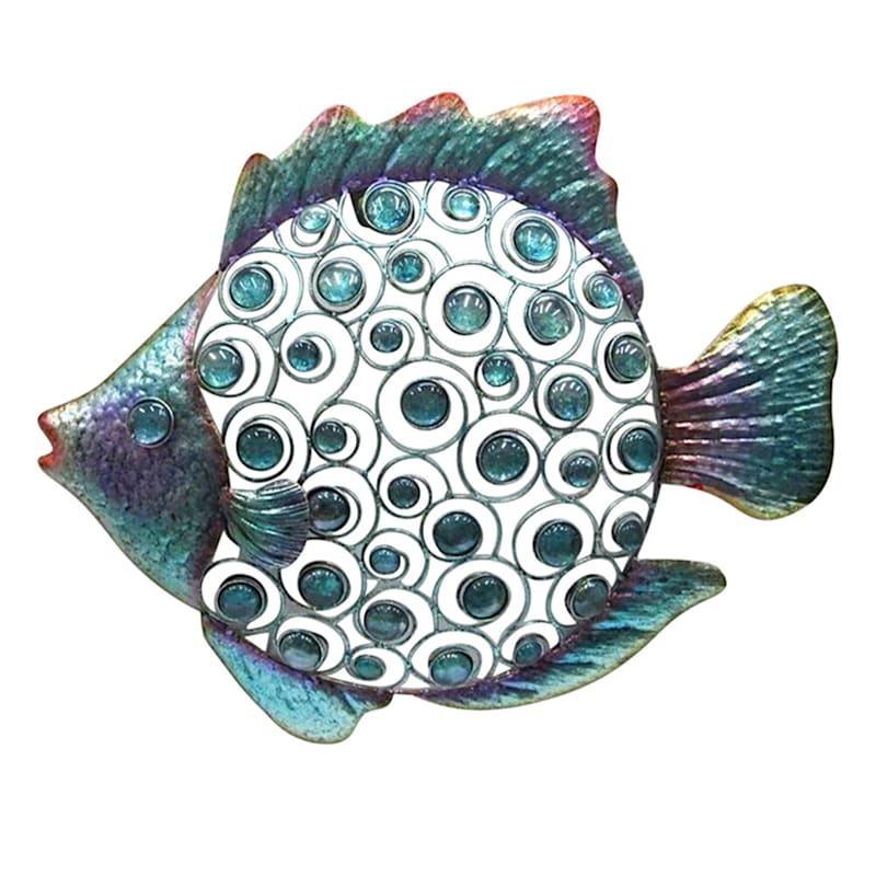 Metal Fish Wall Plaque/Glass Beaded Inset On Body