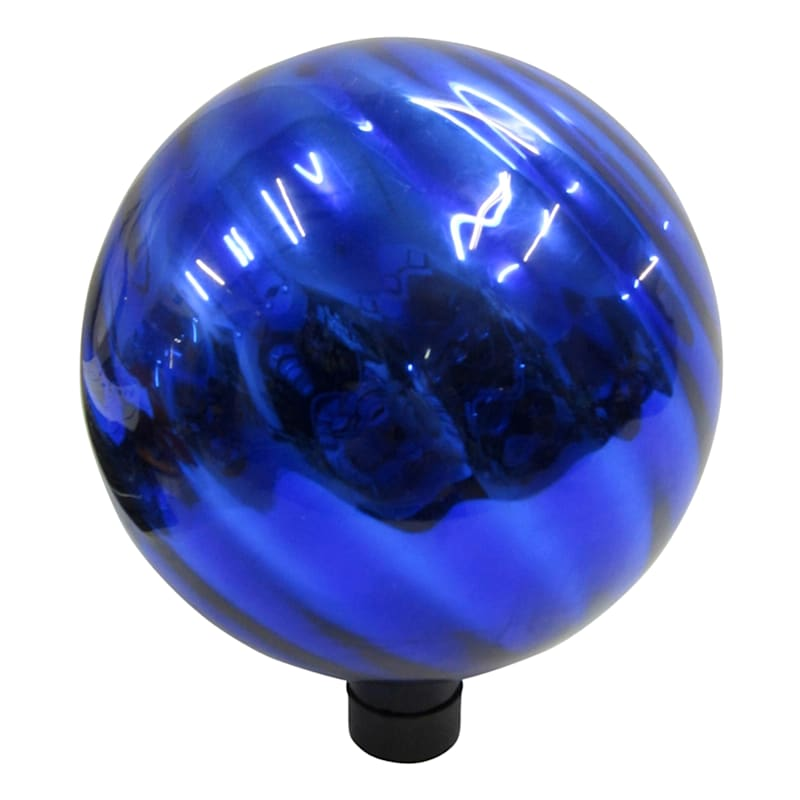 10in. Glass Gazing Ball Blue Chrome Swirl Pattern