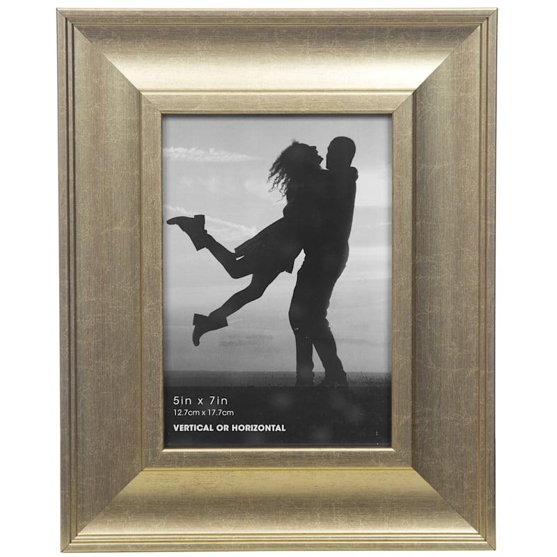 5X7 Wide Gold Slant Profile Tabletop Photo Frame